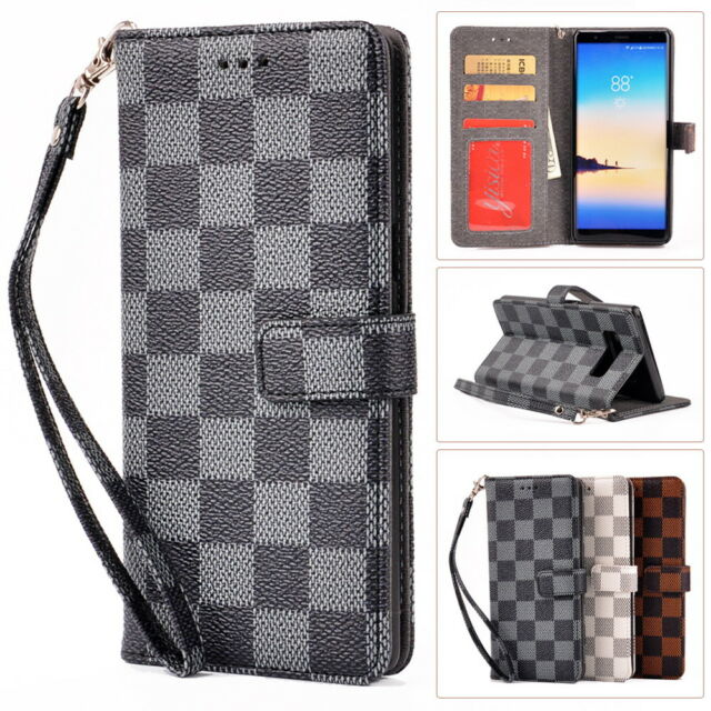 Deluxe Grid Synthetic Leather Wallet Flip Case For Samsung Note 9 8 S8 S9 Plus