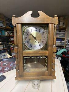 Vintage Ansonia Wall Clock W/ Pendulum - Key. Not Working. Beautiful. Project