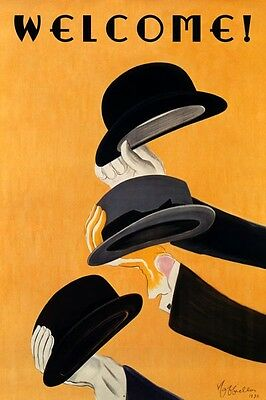 WELCOME! Entry Way Art Deco Style Hats Vintage Poster Repo FREE SHIP in USA