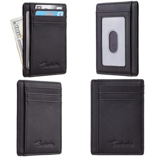 Billetera De Hombre Cartera Para Hombres Minimalista Negra RFID Antirobo Cuero