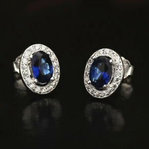 Solid-925-Sterling-Silver-Blue-Halo-Sapphire-CZ-Stud-Earrings-Jewellery-Boxed