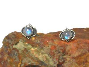 Himalaya-Mondstein-Sterling-Silber-925-Edelstein-Ohrringe-STUDS-5-mm