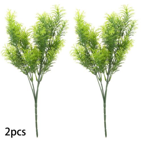 2x Artificial Fake Plants Outdoor Plastic Cedar Shrub Greenery Bushes Home Decor