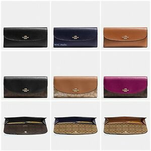 New-Coach-F54022-F54008-Soft-Wallet-Signature-Crossgrain-Leather
