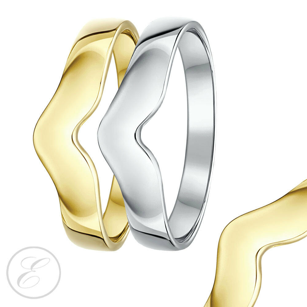 CURVADO Espoleta Forma Anillo 9ct OR 18ct whiteo O yellow gold ortitanium 3mm