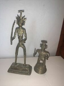 Vintage Metal Peruvian Aztec Warrior Figurines Statues
