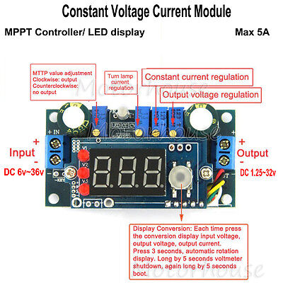 Solar Panels MPPT Controller 5A DC buck Step-down Constant Voltage Current Modul