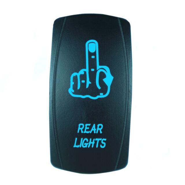 BLUE DUAL LED BACKLIT ROCKER SWITCH LASER ETCHED FINGER REAR LIGHT OFFROAD TRUCK