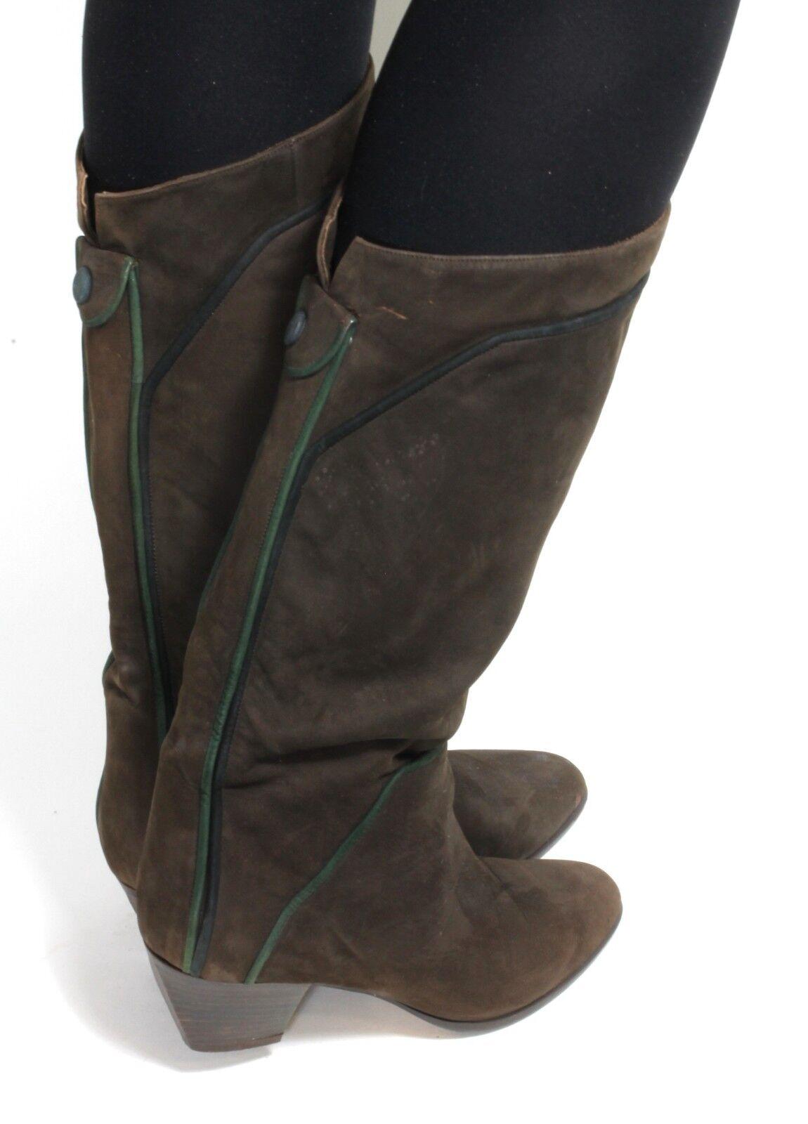 Damenstiefel vintage Stiefel Leder Blogger Hipster Heel Krempelschaft Heel Hipster Knopf 38,5 ed5c1c