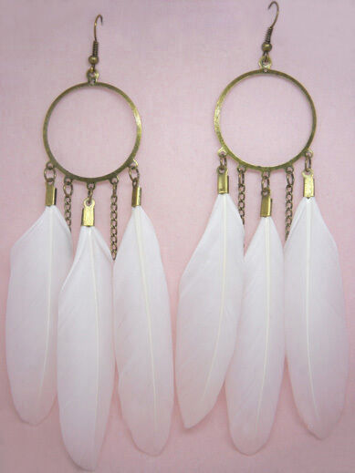 F1431 fashion white Feather circle chain dangle chandelier earrings jewelry