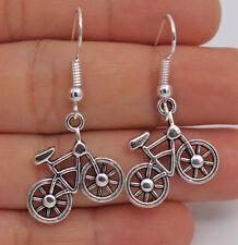 925 Silver Plated Hook - 1.6'' Bikecycle Retro Silver Women Party Earrings #61