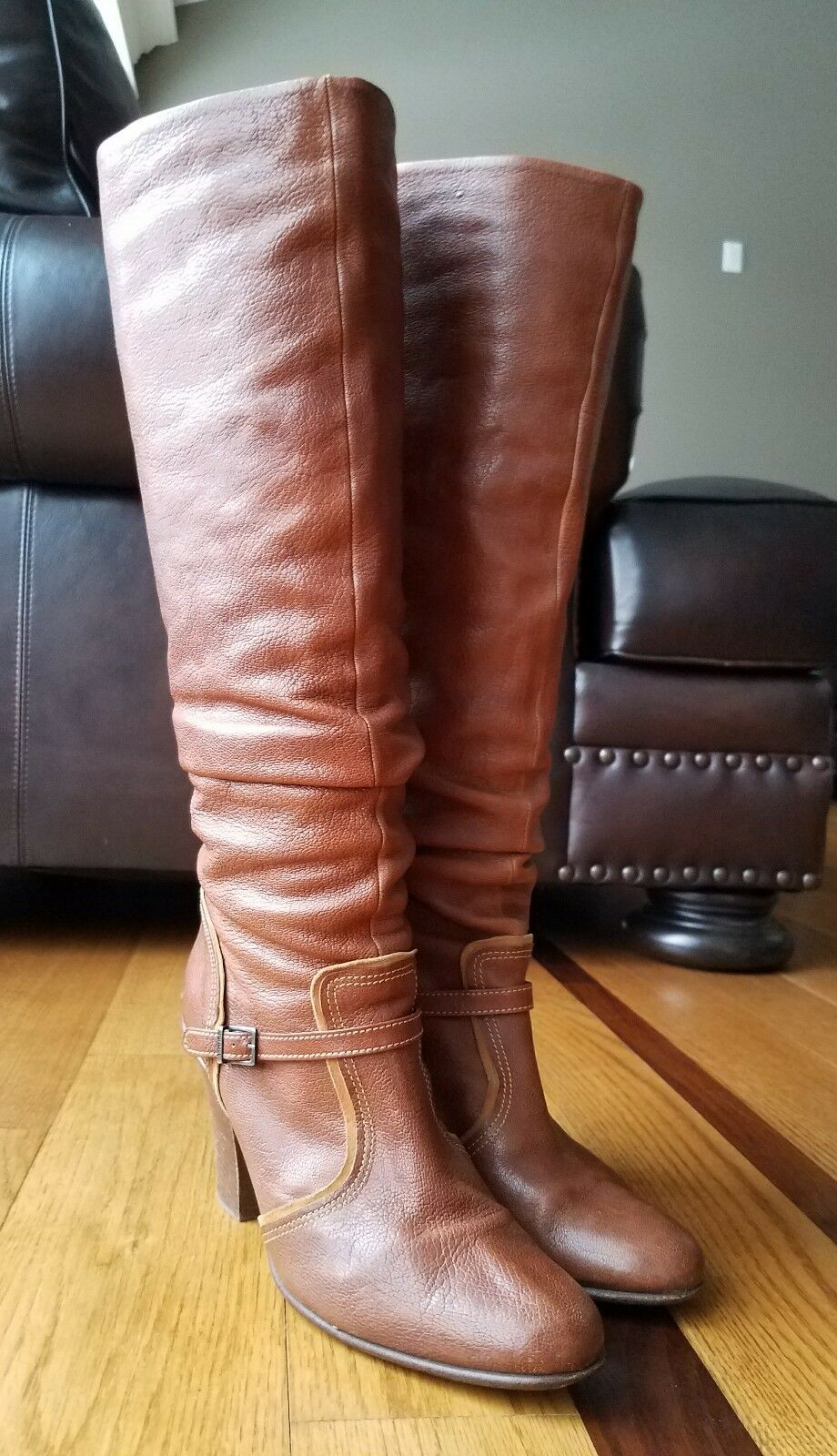 FURLA Woman's Stiefel Cognac braun Leather Leather Leather Slouchy Tall Block Heel Sz 40 9.5  5158d0