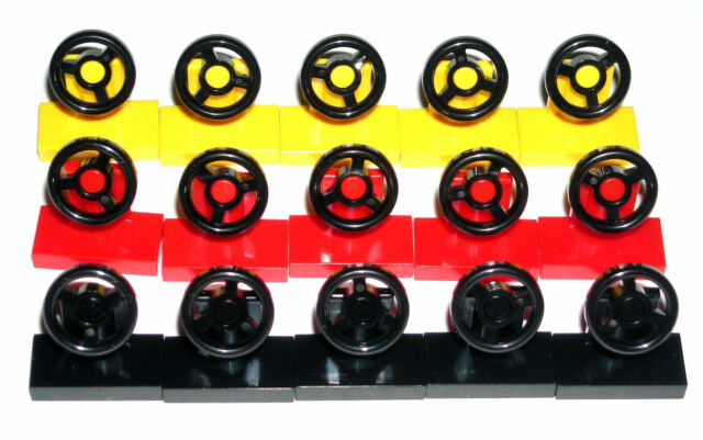 LEGO 15 CITY CAR STEERING WHEELS Red/Yellow/Black