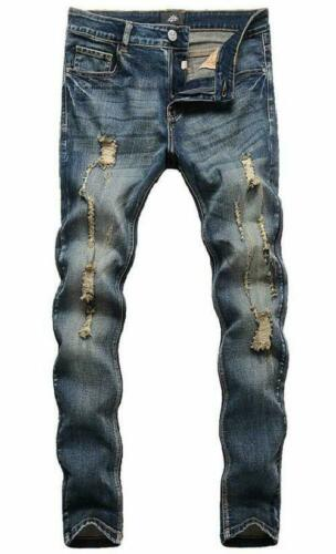 Zlz Men/'S Ripped Skinny Distressed Destroyed Slim Fit Stretch Biker Jeans Pants