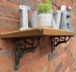 SOLID-OAK-WOOD-HANDMADE-SHELVES-rustic-Shelf-cast-iron-shelf-brackets