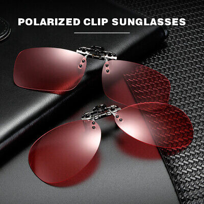 Polarized Clip-on Vision Sunglasses Flip-up Lens Fishing Driving Glasses Pink