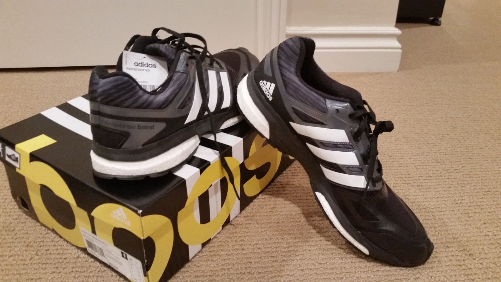 addias  Boost  athletic shoes.. Comfortable