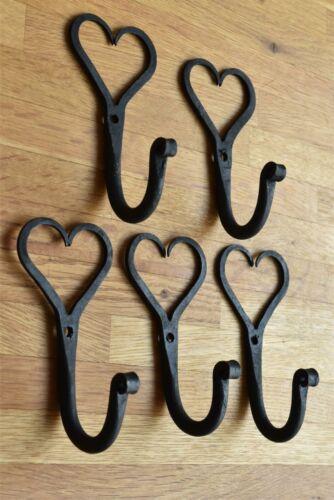 A set of 5 wrought iron Shaker heart hooks folk art wall hanger door hook LH1