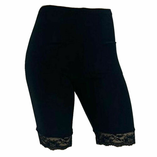 2 Pack Womens Scallop Lace Trim Cycling Shorts Active Gym Tights Microfiber