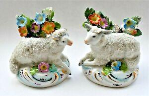 Antique-Chelsea-Porcelain-Miniature-Set-of-2-Figure-Figurine-Sheep-Lamb-6cm-wide
