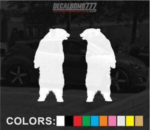 Set-of-2-Bear-Standing-Decals-Stickers-Turbo-Truck-Hunt-Race-Kayak-Diesel-Car