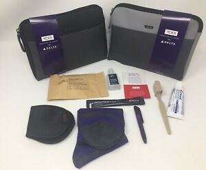 2-New-Delta-Airline-One-Soft-Tumi-Amenity-Kits-Gray-And-Black-With-Hand-Cleanser