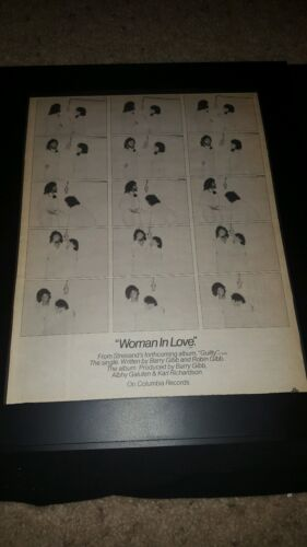 Barbra Streisand Barry Gibb Woman In Love Rare Original Promo Poster Ad Framed!