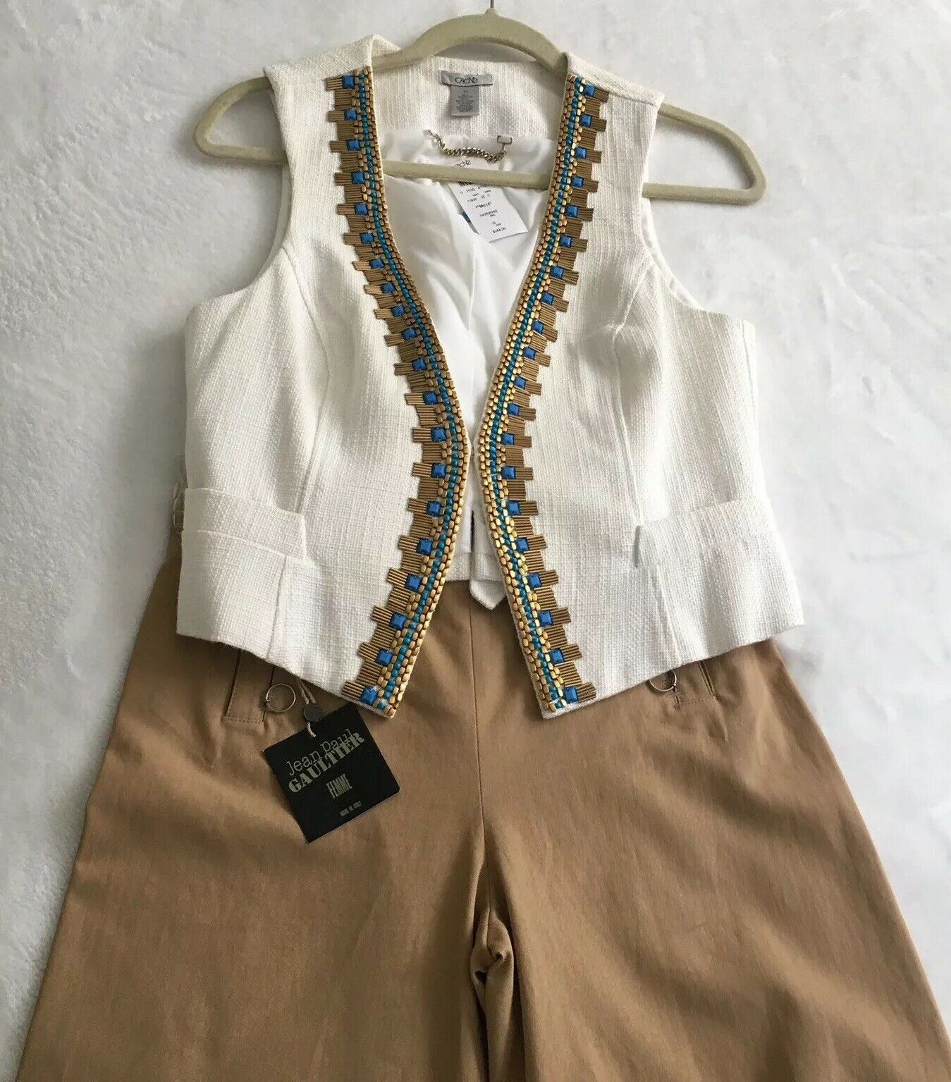 Caché Tweed Embroided Vest - NWT  Size 10 S M
