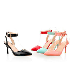 Women-039-s-High-Heel-Sandals-Slingback-Pointed-Shoes-Ankle-Strap-Pumps-AU-Size-S135