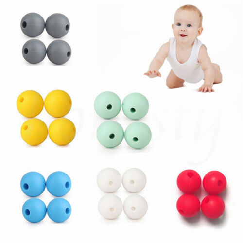 10//20pcs BPA-Free Safety Silicone Baby Teether Mom DIY Necklace Bracelet Beads