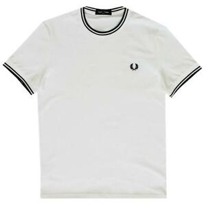 Fred-Perry-Twin-Tipped-Men-039-s-White-T-shirt