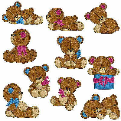 2 sizes Machine Applique Embroidery Patterns * TEDDY BEARS 10 Designs