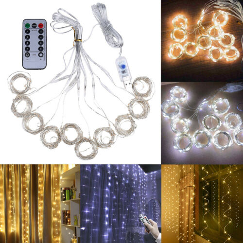 300//200//100 LED Fairy String Lights Curtain Window Wedding Party Decor w// Remote