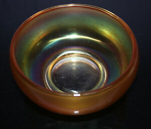 Vintage-5-1-4-034-Iridescent-Amber-Carnival-Pressed-Glass-Bowl