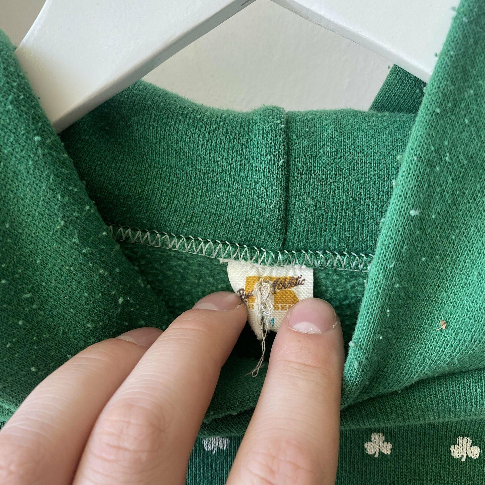 Vintage 70's Shamrock Run Irish Clovers Green Rus… - image 3