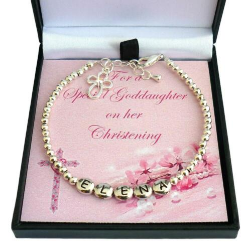 Gift Boxed Personalised Christening Bracelet with Cross Charm Any Girl/'s Name