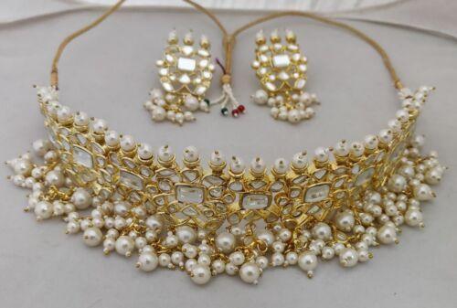 Kundan polki wedding Necklace choker Set Bollywood Bridal Indian Pearl Jewellery
