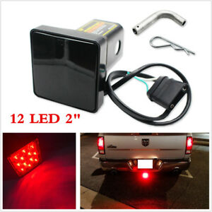 Smoke-Lens-12-LED-Brake-Tail-Lamp-Trailer-Hitch-Cover-Fit-2-034-Receiver-w-Pin-Red