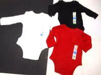 Baby Boys Creepers Boys Clothes Boys Bodysuits Black Red White 3 Pc Set 3-6 Mos
