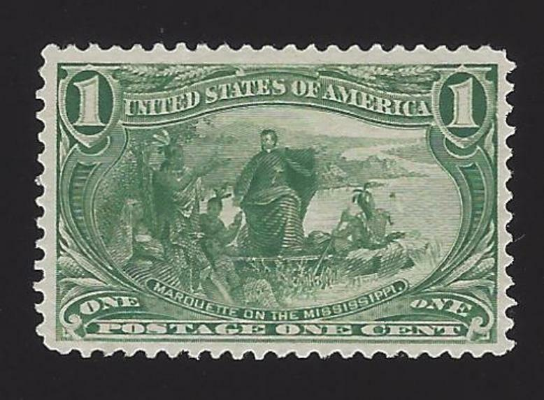 1898 1c Jacques Marquette on the Mississippi Yellow Gre