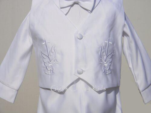 New Baby Boys Infant Christening Baptism White Outfit Set Dedication Hat Dove