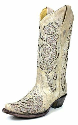 Corral Ladies White Glitter Inlay/Crystals Boot A3322