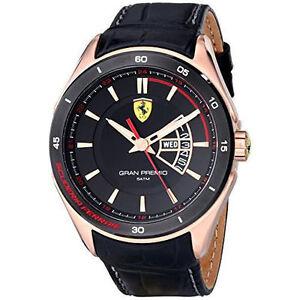 eae15383efe7 La imagen se está cargando Reloj-Hombre-Ferrari-Gran-Premio-Chapado-En-Oro-