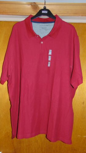 """M/&S /'Cool Comfort/' 100/% Cotton S//Sleeve Polo Shirt Top XXXL Ch 50-52/"""" Red BNWT"""