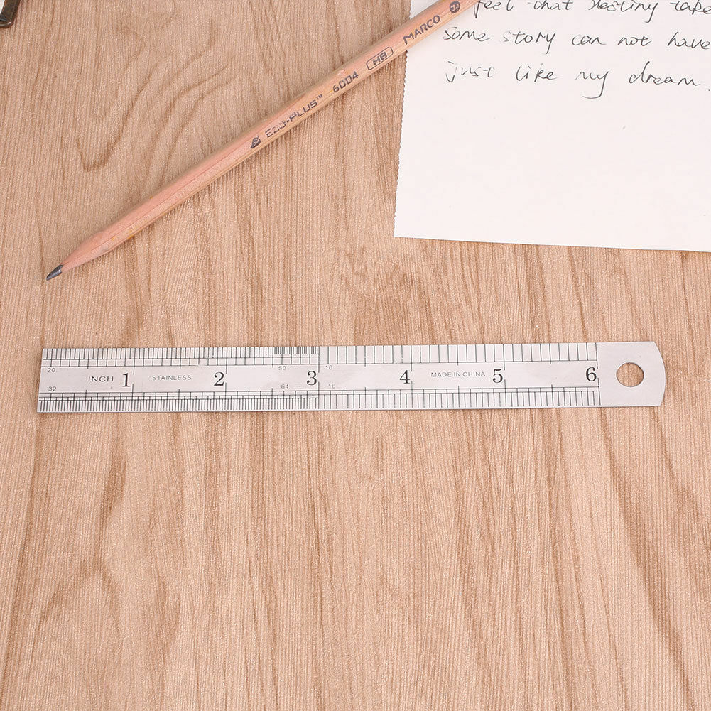 15-30cm Double Sided Scale Precision Tool Stainless Steel Metal Straight Ruler~