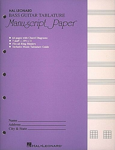 Bass Guitar Tablature Manuscript Paper Purple Cover Manuscript Paper 000290262