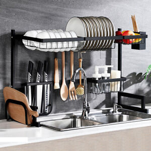 Stainless-Steel-Kitchen-Shelf-Plate-Dish-Rack-Drying-Drain-Storage-Towel-Holder