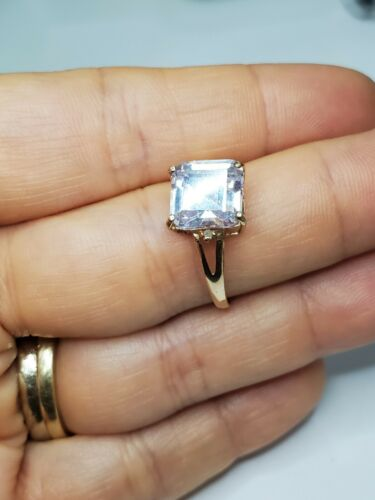 Solid 10k Gold Ring Solitaire Princess Cut  - image 1