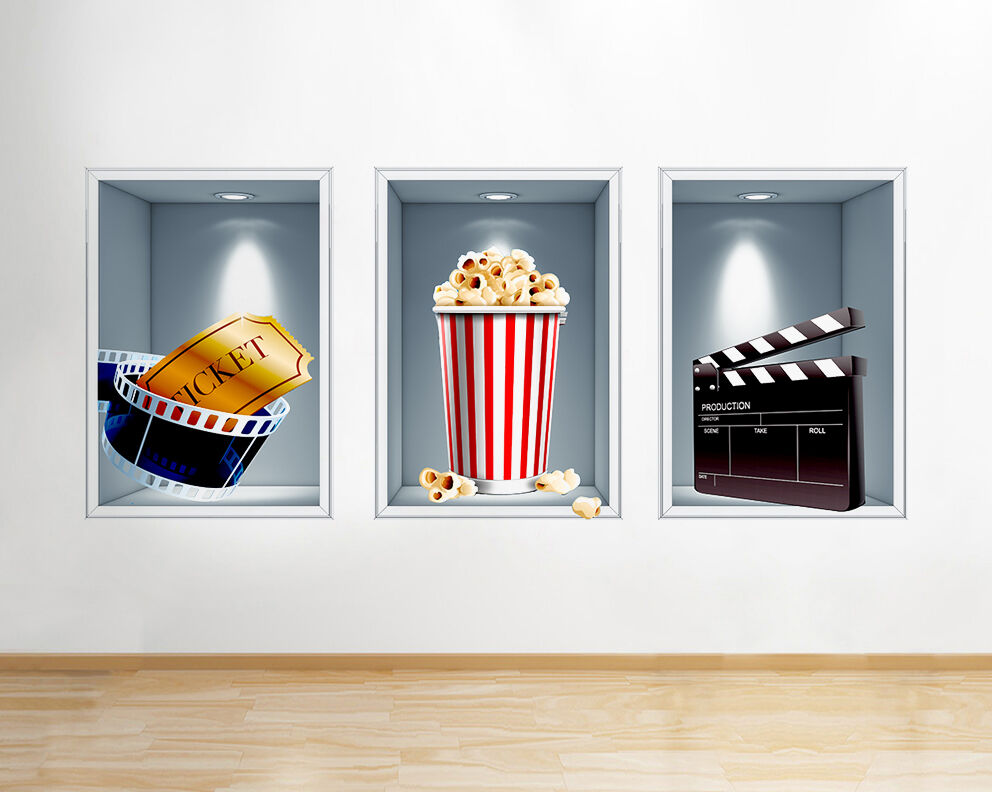 Q200w Cinema Film Popcorn Nourriture Fenêtre Autocollant Mural 3D