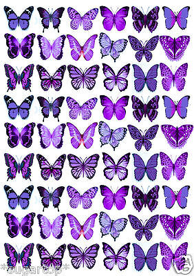 54 x Beautiful PURPLE BUTTERFLIES Mixed Edible Cup Cake Toppers WEDDING BIRTHDAY